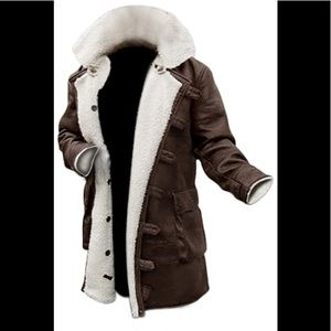 👻 Decrum brown real leather Sherpa coat NWT